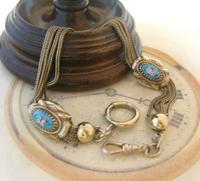 Antique Pocket Watch Chain 1880s Victorian Silver Nickel & Enamel Fancy Albert (5 of 11)