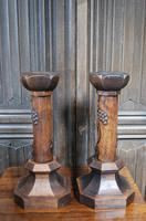 Pair of Oak Gothic Candlesticks / Lamps (4 of 6)