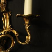 French Set of 4 Gilded Opposing Twin Arm Wall Lights (4 of 9)