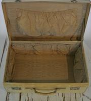 1930's Large Handmade Vellum Leather Suitcase with high quality locks (5 of 8)