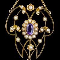 Antique Suffragette Floral Pendant Amethyst Peridot Pearl 9ct Gold Circa 1910 (5 of 6)