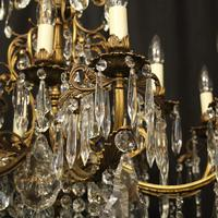 French 12 Light Gilded Bronze Antique Chandelier (5 of 10)