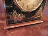 Antique Walnut Cased Chinoiserie Mantel Clock (4 of 7)