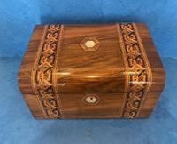 Victorian Walnut Jewellery Box with Tunbridge Ware Inlaid Bands