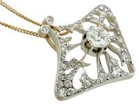 4.21ct Diamond & 18ct Yellow Gold Pendant / Brooch - Antique French c.1900 (5 of 16)