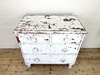 Small Distressed White Painted Victorian Chest of Drawers (3 of 10)