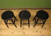 Set of Three Vintage Ebonized Stools (5 of 12)