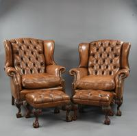 Fine Large Antique Deep Buttoned Leather Wing Chair (15 of 15)