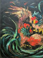 Stunning Original 1970s Vintage Abstract  Acrylic Painting Cocks Fighting - Game (8 of 15)