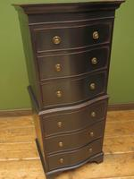 Black Painted Antique Reproduction Serpentine Chest of Drawers, Office Chest (12 of 18)