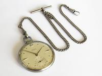 1930s Stainless Steel Doxa Pocket Watch & Chain (3 of 5)