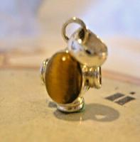 Vintage Pocket Watch Chain Fob 1970s Silver & Tigers Eye Medieval Revival Fob (3 of 10)