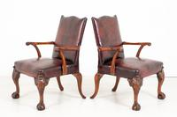 Pair of Chippendale Style Leather Gainsborough Chairs (6 of 8)