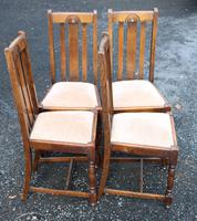 1930s Set 4 0ak Highback Dining Chairs with Pop Out Seats (3 of 4)
