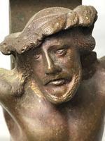 Antique 19th Century French Bronze Religious Crucifix Jesus INRI Display Statue (4 of 12)