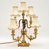 Antique French Gilt Metal Candelabra Table Lamp (2 of 9)