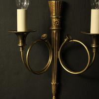 French Gilded Twin Arm Antique Wall Lights (9 of 10)