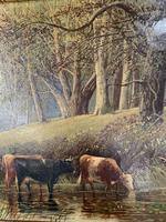 Antique 19th Century British River Landscape Oil Painting of Cows Cattle Signed JD Morris '1 of 2' (4 of 10)