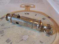 Vintage Pocket Watch Chain Fob 1940s Large Silver Chrome Railway or Police Whistle Fob (8 of 9)