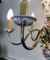 Vintage French Large Porcelain & Brass 6 Arm Flemish Chandelier (6 of 11)