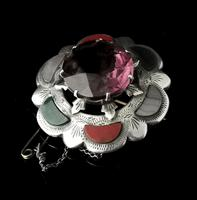 Victorian Scottish Agate & Amethyst Brooch, Sterling Silver (11 of 11)