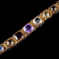 Art Deco Gemstone Bracelet Silver 18ct Gold Gilt c.1920 (3 of 8)