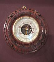 Antique Solid Walnut Manchester Aneroid Barometer (6 of 6)