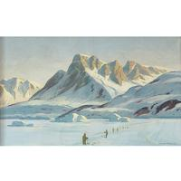 Emanuel A Petersen, Arctic Landscape With Inuit, Oil Painting (6 of 8)