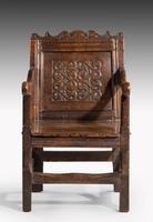 Charles II Style Oak Panelled Armchair (3 of 5)