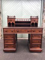 Antique Anglo Indian Teak Pedestal Writing Desk (4 of 13)