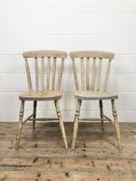 Set of Four Antique Beech & Elm Farmhouse Dining Chairs (3 of 8)