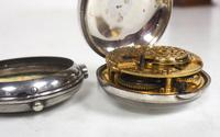 Antique Silver Pair of Case Pocket Watch Fusee Verge Escapement Key Wind Enamel Dial Thomas Cooker Oakham (11 of 12)