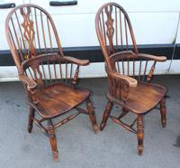 1940's Pair of Oak Country Farmhouse Chairs (4 of 5)