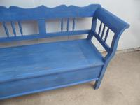 Lovely Chelsea Blue 3 Seater Antique Pine Kitchen / Hall Box Settle / Bench (3 of 10)