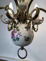 Vintage French Large Porcelain & Brass 6 Arm Flemish Chandelier (9 of 11)