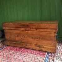 Antique Victorian Pine Chest Rustic Industrial Wooden Trunk + Key + Original Interior (2 of 12)