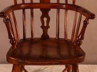 Rare Childs Yew Wood Windsor Stamped Fred Walker (4 of 10)