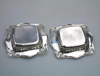 Unusual Pair of Solid Silver Pierced Square Bonbon Dishes Chester c.1927 (7 of 8)