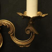 French Pair of Gilded Twin Arm Wall Lights (9 of 10)