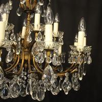 Italian 18 Light Gilded Brass Antique Chandelier (3 of 10)