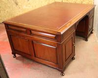 1920s Mahogany Partners Pedestal Desk with Red Top (4 of 4)