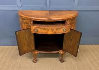 Burr Walnut Queen Anne Style Demi Lune Commode (4 of 11)