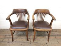 Pair of Early 20th Century Oak & Leather Desk Chairs (3 of 10)