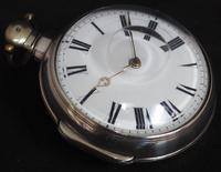 Antique Silver Pair Case Pocket Watch Fusee Verge Escapement Key Wind Enamel Dial W Hollison London (4 of 9)