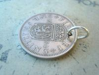 Vintage Pocket Watch Chain Fob 1964 Lucky Silver One Shilling old 5d Coin Fob (6 of 6)