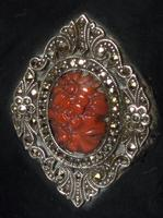 Fine Quality Silver, Black Enamel, Coral and Marcasite Case (2 of 6)