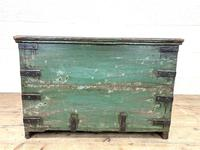 Distressed Painted Metal Bound Trunk (10 of 10)