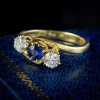Antique Edwardian Sapphire Diamond Trilogy Twist Ring 18ct Gold Circa 1905 (7 of 8)