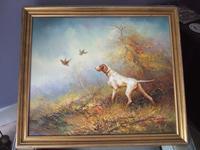Eugene Kingman Oil on Canvas - Hunting Dog with Gamebirds