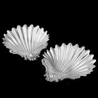 Antique Victorian Solid Silver Pair of Butter Dishes, Shell Design - Josiah Williams & Co 1894 (5 of 13)